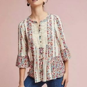ANTHROPOLOGIE MAEVE Hiver Floral Peasant Top 6
